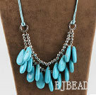 drop shape turquoise and metal beads necklace under $ 40