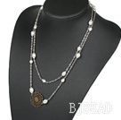 43.3inches fashion white pearl necklaces with flower charm