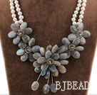 Big Style White Freshwater Pearl and Faceted Flashing Stone Flower Necklace