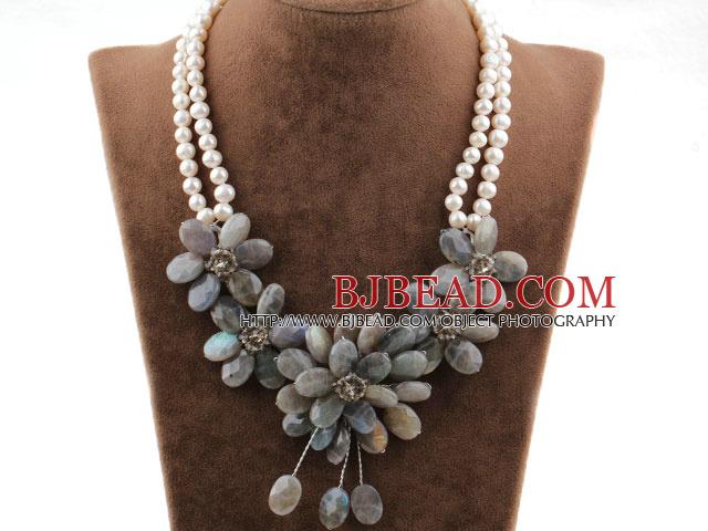 Popolare perla di stile bianco e sfaccettato lampeggiante Collana Fiore di  ER28