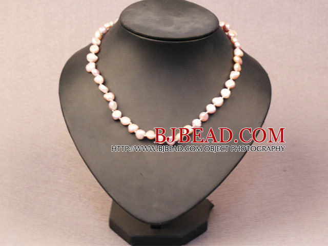 Simple Trendy Style Women Natural Pink Potato Pearl Necklace