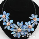 Oval Shape Opal Flower Necklace with Pink Freshwater Pearl and Lether Cord