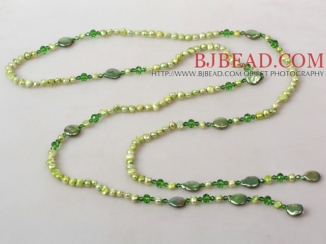 Light Green Series Freshwater Pear Crystal Long Necklace