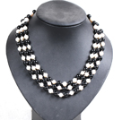 Beautiful 3 Strand Natural White Freshwater Pearl And Black Agate Beads Party Necklace With Shell Flower Clasp