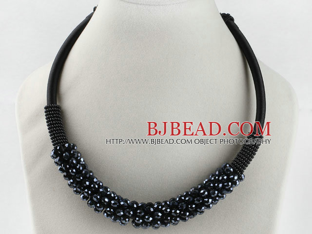 popular style 16.9 inches grey black crystal beaded necklace
