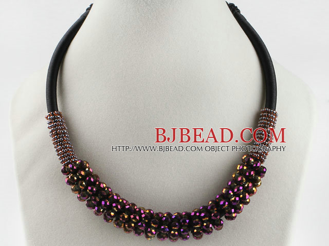 popular style 16.9 inches purple red crystal beaded necklace