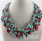 exquisite coral and turquoise necklace with magnetic clasp