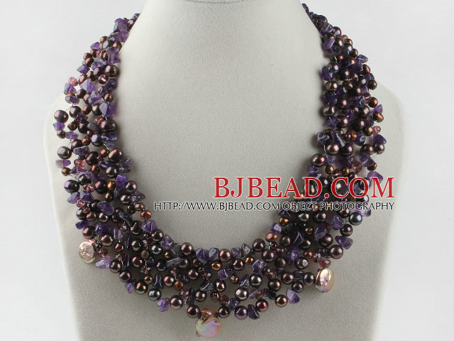 gorgeous pearl and amethyst necklace with magnetic clasp