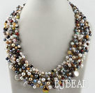 gorgeous pearl and crystal gemstone chips necklace under $ 40