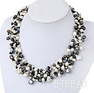 gorgeous pearl and black agate gemstone chips necklace under $100