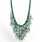 Sparkly Bib Shape Green Series Water Drop Shape Crystal Statement Party Necklace With Green Thread Woven Drawstring Chain under $ 30