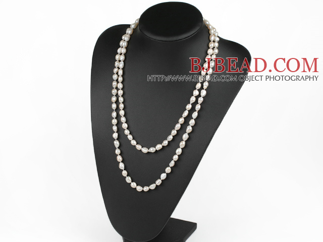 fashion long style 47.2 inches 8-9mm white pearl necklace