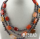 Three Strands Black Pearl and Agate Necklace