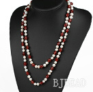 long style 47.2 inches white pearl and red agate necklace