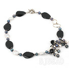 pearl black agate necklace