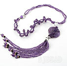 New Style Y Shape Amethyst Donut Tassel Necklace with Rhinestone
