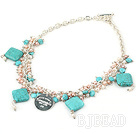 pearl turquoise colored glaze necklace