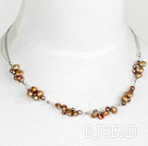 17.5 inches simple brown pearl necklace