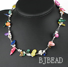 17.5 inches simple multi color pearl necklace