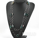 55.1 inches fashion long style india agate necklace with metal loop