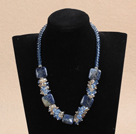 17.7 inches light blue crystal and lapis stone necklace