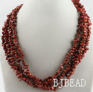 multi strand finely cut red stone necklace with gem clasp under $ 40