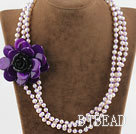 Three Strands White FW Pearl and Purple Shell Flower Necklace under $30