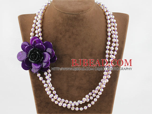 Three Strands White FW Pearl and Purple Shell Flower Necklace