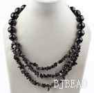 New Design Faceted Black Agate Necklace with Moonlight Clasp