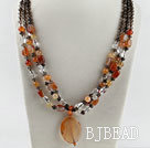 three strand smoky quartze and agate necklace with gem clasp