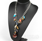 Y shape multi color gemstone necklace on metal chain under $30