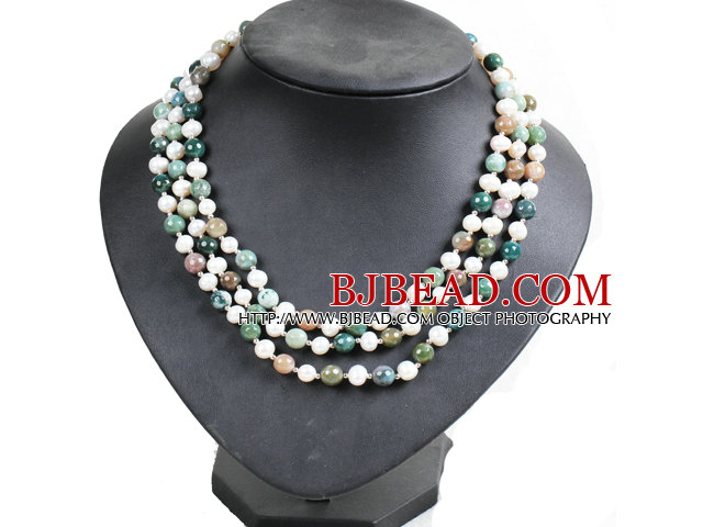 Beautiful 3 Strand Natural White Freshwater Pearl And Indian Agate Beads Party Necklace With Shell Flower Clasp