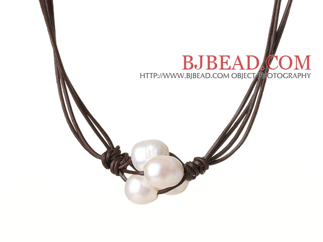 Fashion Simple Design 10-11mm Flower Shape White Pearl Beads with Dark Brown Leather Necklace