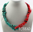 Assorted Turquoise and Red coral Necklace with Moonlight Clasp