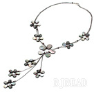 flower jewelry garnet and black lip shell necklace 19.5 inches