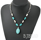 18 inches black stone and shell and turquoise necklace with lobster clasp