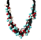 Multi Strands Assorted White Pearl and Red Coral and Turquoise Leather Necklace under $ 40