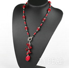 19.5 inches fashion long style black crystal and red coral necklace
