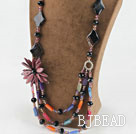 Amazing beautiful crystal and agate and shell flower party necklace under $100
