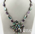 Gray pearl and amethyst and abalone shell flower necklace