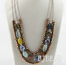 Amazing multi strand gole brown crystal and multi stone necklace under $ 40