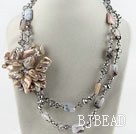 Big style crystal and gray agate and shell flower party necklace