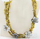 Multi strand lemon color coral chip and shell flower necklace under $ 40