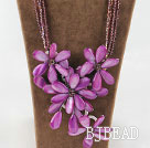 Amazing Purple Crystal and Shell Flower Party Necklace