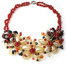 2013 Summer New Design Red Series Black Freshwater Pearl and Carnelian and Yellow Shell Flower Necklace