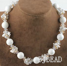 White Pearl Crystal and White Giant Clam Necklace under $ 40