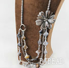Big Style Pearl Crystal and Gray Shell Flower Party Necklace under $100