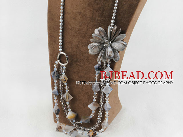 Big Style Pearl Crystal and Gray Shell Flower Party Necklace