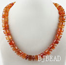 Single Strand Cylinder Shape Red Agate Necklace