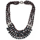 Multi Strand Garnet and Black FW Pearl Necklace